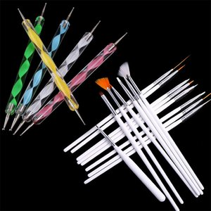 Wholesale DIY White Handle Fingernail Art Manicures Fashion Design Painting Drawing Brushes Double End Dotting Pen Tools Set