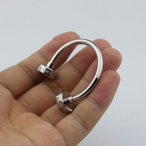 Luxury stainless steel line design keychain hot sale keyring for men