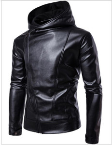 PU Leather Jacket Black Solid Color Design Incline Zipper Pockets Hooded Long Sleeve Slim Fit For Man Motorcycle Jakcets Free Ship 2017 on Sale