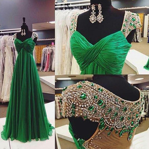 Wholesale Emerald Green Chiffon Formal Gowns Dresses Evening Wear Cap Sleeves Beaded Crystals Ruched Bust Custom Made Prom Occasion Gowns Cheap