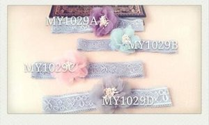 Lace flowers headbands babys photography props good quality floral wedding party birthday gifts pink purple gray blue 39
