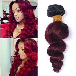 Wholesale Ombre Weave Hair Bundle Two tone Color 1B 99J Burgundy Wine Red Unprocessed Loose Wave Brazilian Peruvian Indian Ombre Human Hair Extension