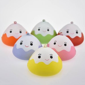 Wholesale Kawaii Japan Face Mochi Squishy Slow Rising Jumbo Rice Ball Keychain Phone Straps Pendant Soft Scented Bread Kid Toy Fun Gift