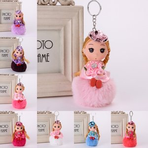 Wholesale Pom Pom Fur Princess Dolls Key Ring Cute Doll Decoration Keyring for Bag Colorful Mini Phone Backpack Pendant Accessories Styles B767Q