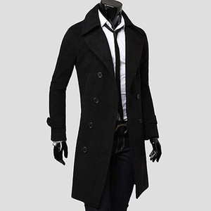 Wholesale Men s Fashion Double breasted Briefness Dust Coat Casual Slim Fit Long Outer Wear New Arrival
