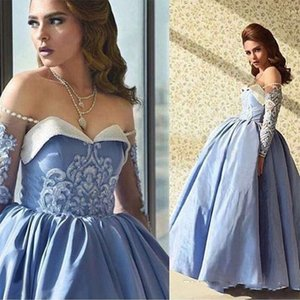 2018 Arabic Dubai Blue Prom Dresses Ball Gown Off Shoulder Beaded Sweetheart Illusion Long Sleeves Ankle Length Formal Evening Party Gowns on Sale