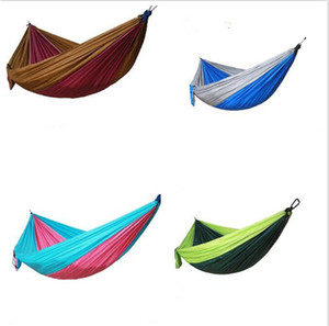 Wholesale 50pcs Portable Nylon Single Person Hammock cm Parachute Parachute Fabric Hammock For Travel Hiking Backpacking Camping Hammock G078