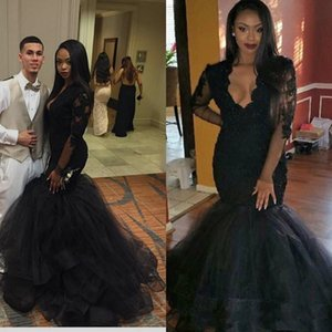 Wholesale Sexy Mermaid Prom Dress V Neck Lace Black Vestidos Tiered Long Sleeve Evening Party Formal Gowns Custom Made Transparent Applique