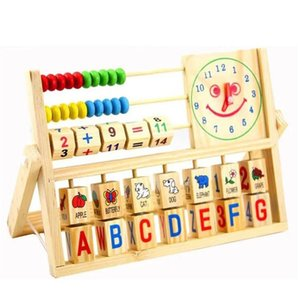 Wholesale- Wooden Montessori Alphabet & Fruit & Digital Learning Toy Baby Chinese Abacus Toy Multi-function Clock Game Gift JSB023