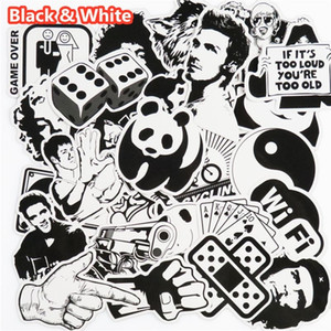 Wholesale 101 Black and White Sticker Snowboard Car Styling Sleigh Box Luggage Fridge Toy Vinyl Decal Home decor DIY Cool Stickers