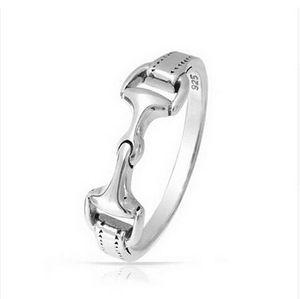 real 925 Sterling Silver women men horse bit snaffle bit ring