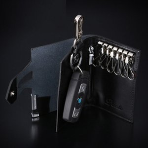 2017 men leather car keys bags fashionable black screens zip zero wallet on Sale