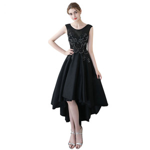 Women High Low Stain Party Dress Scoop Neck Lace Prom Party Dresses 2017 Black Short Front Long Back Homecoming Dresses vestido de festa on Sale