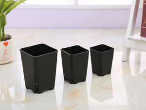Wholesale Japanese Design 3 size option side leakage square plastic flowerpot for succulent plants white black nursery pot, plant seeding