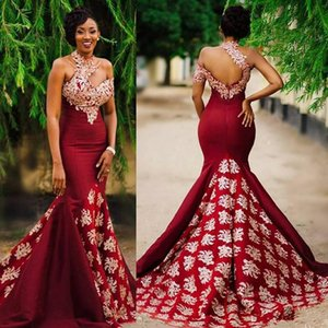 Aso Ebi Style Dark Red Sexy Mermaid Evening Pageant Dresses Modest Lace High Neck Backless Sweep Train Trumpet Africa Prom Party Gowns on Sale