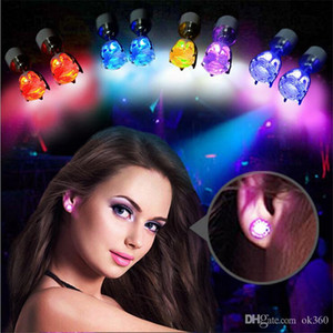 5 pair 10pcs Hot Cool Fashion Light Up LED Bling Earrings Ear Studs Dance Party Accessories Blinking Free Shipping