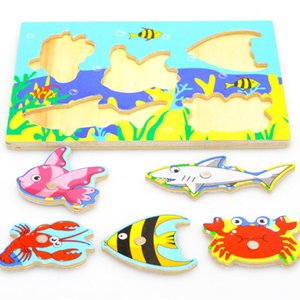 Wholesale Baby Wooden Magnetic Fishing Game Jigsaw Puzzle Board D Jigsaw Puzzle Children Education Toy juguetes educativos