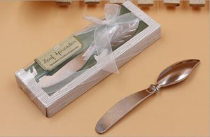 2017 Latest European Wedding & Event Party Favors Gift Kitchen Tools Leaves Shape Alloy Cake Cream Knives Knife with Retail packing 20pcs