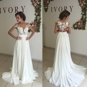 Wholesale New Sexy Lace Sheer Summer Beach A Line Wedding Dresses 2017 Chiffon Illusion Long Sleeves Zip Full Length Split Thigh-High Slits BA3033