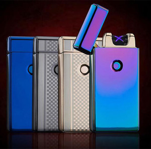Wholesale Electronic Lighter DUAL Arc Windproof Ultra thin Metal Pulse USB Rechargeable Flameless Electric Arc Cigar Cigarette Lighter Hot Sales