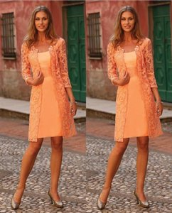2017 Short Orange Mother of the Bride Lace Dress with Jacket Crystals Mother Evening Prom Dress Plus Size on Sale