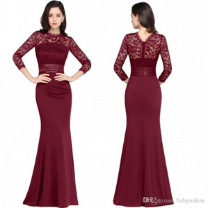 Wholesale Designer Mermaid Long Sleeves Burgundy Evening Dresses 2018 Satin Lace Jewel Neck Zipper Back Floor Length Formal Gowns