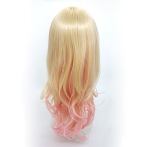 XT934 Fashion Mix color Blonde Pink Gradient De Couleur 24 inch Long Deep Curly Wigs Oblique Bang Lolita Cosplay Natural Wig Synthetic Hair on Sale
