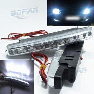 New 2X Auto Durable Car Daytime Running Light 8 LED DRL Daylight Super White DC 12V Head Lamp Parking Fog Lights free shipping on Sale