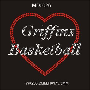 Iron on front t-shirt Griffins Basketball hot fix rhinestone image transfer 30pcs free shipping from china