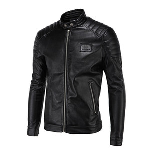 Wholesale Wholesale- Spring Leather Jackets Men Black Biker Jackets Men Quilting Shoulder Vintage Rivets Badge Patch Motorcycle Jackets and Coats 5XL