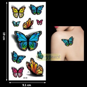 Wholesale New PC Fashion Women Men Waterproof Temporary Tattoo Removable Simulation Vivid Body Art D Fluorescent Blue Red Butterfly