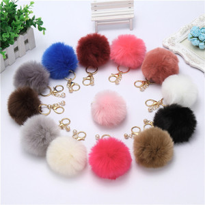 HOT Lovely Hair Ball Pearl Keychain Bag Car Simulation Rabbit Hair Ball Pendant 13 Colors Soft Fur Ball Keychain Accessories Free Shipping