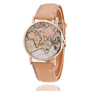 2017 New Fashion World Map Geneva Watches Women Dress Quartz Wristwatch Watches for women Mens watches 100pcs lot