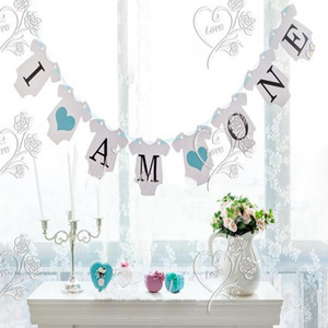 Wholesale Hanging Flag Sign Happy Birthday Bunting Banner I AM ONE Baby Boy Shower Child Kids Party Decor Letter Flags Photo Booth Props