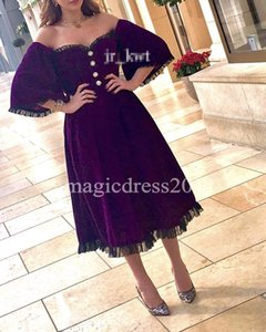 2017 Purple Arabic Kuwait Evening Dresses with Half Sleeves Princess Off-Shoulder Black Lace Tea-Length Formal Prom Gowns Dress for Party on Sale