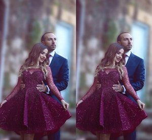 Burgundy Arabic Short Prom Dresses Sccop Beads Sheer Long Sleeves Cocktail Dresses Knee Length Homecoming Dress on Sale