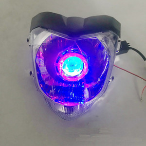 Wholesale yamaha headlamp resale online - Universal LED Motorcycle HID headlamp with angel eyes Demon eye headlight Modified head light for YAMAHA FZ16
