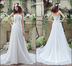 Actual Photos A Line Chiffon A Line Beach Cheap Wedding Dresses Pleats Strapless Lace Up Back Wedding Gowns Custom Bridal Gowns For Garden on Sale