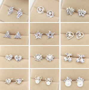 Wholesale Special offer Top Quality Random Styles Sterling Silver Rhinestones Stud Earrings Fashion Jewelry For Women Wedding Pearl Earrings Gift