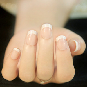 2017 Fashion White French Nails Classical Full Cover Short Oval False Nails Faux Ongle Naturelle French Manucure