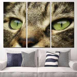 ingrosso face painting cat-3 Pannelli di tela Art Cat Face Eyes Stripe Home Decor Wall Art Painting Canvas Stampe Immagini per Soggiorno Poster
