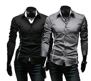 Wholesale Brand New style Design Mens Shirts high quality Casual Slim Fit Stylish Dress Shirts Colors Size M XL