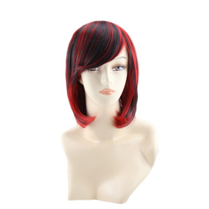 Wholesale short hair straight resale online - WoodFestival black red short women wigs natural hair straight wig with bangs omber synthetic fiber wigs daily wear