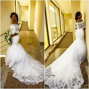 Wholesale 2017 Country Wedding Dresses Mermaid Style Lace Chapel Long Train Full Lace Plus Size Wedding Gowns for Sale African Bridal Dress