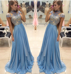 Crystal Formal Evening Dresses A Line Cap Sleeve Long Chiffon Prom Dresses Art Deco inspired High Neck Dresses For Party Gown