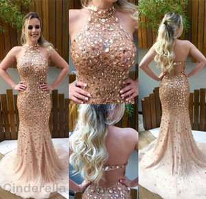 Champagne Mermaid Prom Dresses 2019 Halter Major Beading Crystal Backless Sleeveless Sweep Train Long Evening Party Gowns Cheap on Sale