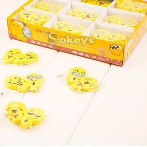Wholesale Cartoon Eraser Emoji Smile Face Yellow Rubber Non Toxic Office Supplies Small Erasers For Pencil Useful xk F R