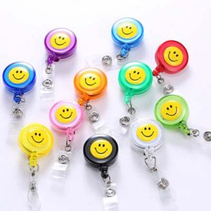 Wholesale 10 Pieces Badge Reel Lanyard Badge Holder Smiling Face High Quality School Office Exhibition Badge Holders Supplies