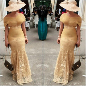 Elegant Aso Ebi Evening Dresses Lace Mermaid Off-The-Shoulder Prom Dress Sweep Train Zipper Back 2017 African WomenFormal Gowns