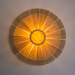 Wholesale Willlustr bamboo Wall Lamp wood Wall sconce UFO lighting umbrella light doorway foyer porch loft hotel nordic pastoral